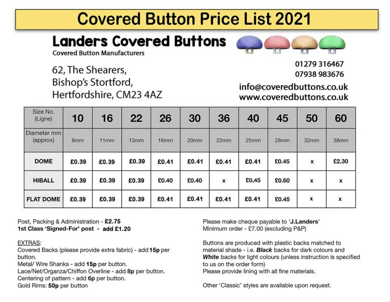Covered button price list